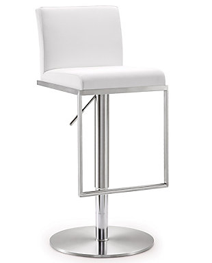 Amalfi Amalfi White Steel Adjustable Barstool, White/Chrome, large