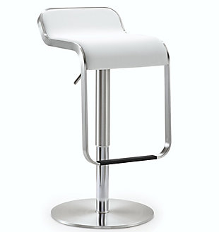 Napoli Napoli White Steel Adjustable Barstool, White/Chrome, large