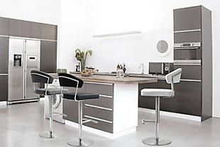 Cosmo Cosmo White Steel Barstool, White/Chrome, rollover