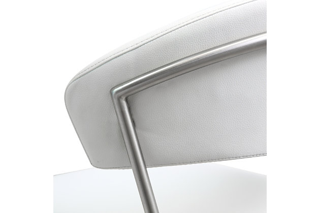 Cosmo Cosmo White Steel Barstool, White/Chrome, large