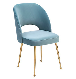 Swell Swell Sea Blue Velvet Chair, Blue/Gold, large