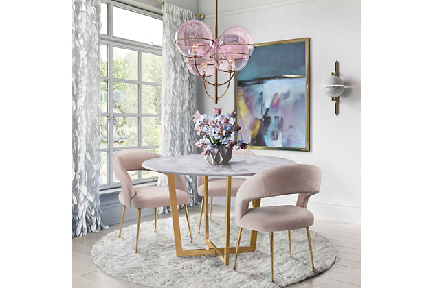 Rocco Rocco Blush Velvet Dining Chair, Pink/Gold, large
