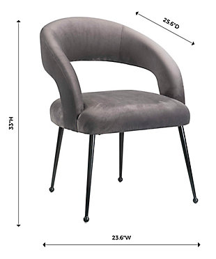 Rocco Rocco Gray Velvet Dining Chair, Dark Gray/Black, large
