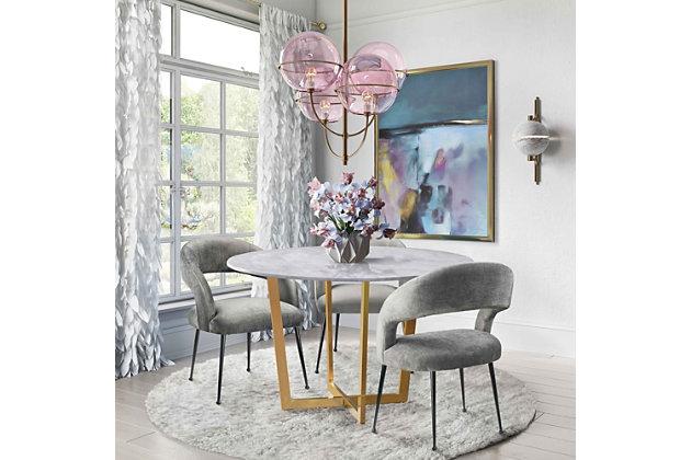 Rocco Rocco Slub Gray Dining Chair, Gray/Black, large