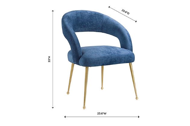 Rocco Rocco Slub Navy Dining Chair, Blue/Gold, large