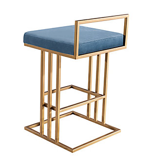 Trevi Trevi Slub Blue Counter Stool, Blue/Gold, large