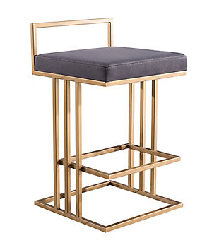Trevi Trevi Slub Gray Counter Stool, Gray/Gold, large