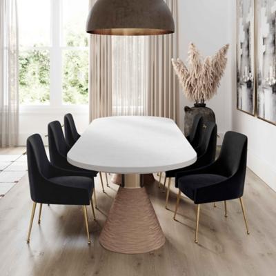 Beatrix Beatrix Black Velvet Side Chair, Black/Gold, large