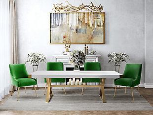 Beatrix Beatrix Green Velvet Side Chair, Green/Gold, large