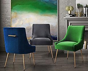 Beatrix Beatrix Gray Velvet Side Chair, Gray/Gold, large