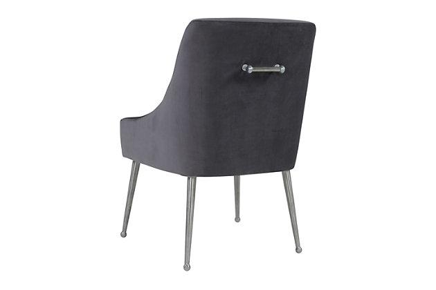 Beatrix Beatrix Gray Velvet Side Chair - Silver Legs, Gray/Silver, large