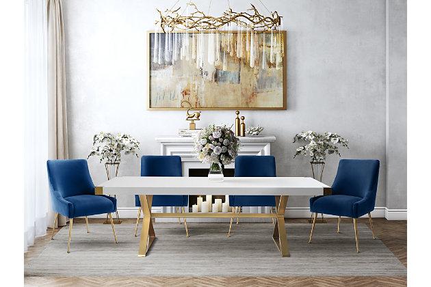 Beatrix Beatrix Navy Velvet Side Chair, Blue/Gold, large