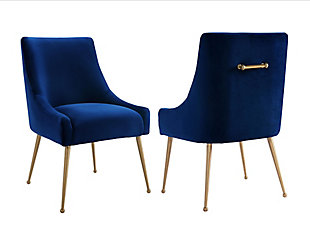 Beatrix Beatrix Navy Velvet Side Chair, Blue/Gold, large