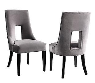 Lipstick Lipstick Gray Velvet Dining Chair, , large