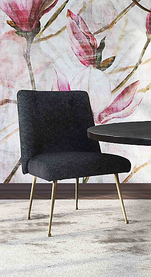 Batik Batik Black Textured Linen Dining Chair, Black/Gold, large
