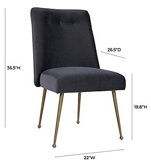 Batik Batik Gray Velvet Dining Chair, Gray/Gold, large