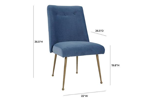 Batik Batik Ocean Blue Velvet Dining Chair, Blue/Gold, large