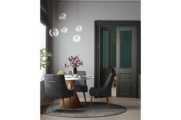 Beatrix Beatrix Pleated Gray Velvet Side Chair, Gray/Gold, large