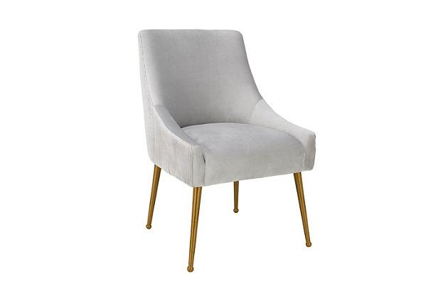 Beatrix Beatrix Pleated Light Gray Velvet Side Chair, Light Gray/Gold, large