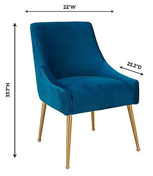 Beatrix Beatrix Pleated Navy Velvet Side Chair, Blue/Gold, large