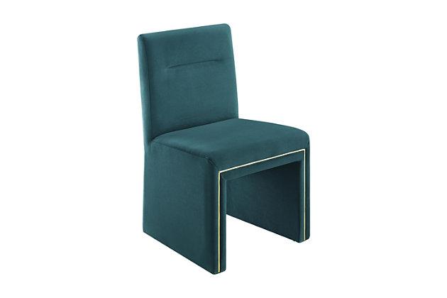 Jaffa Jaffa Teal Performance Velvet Dining Chair, Teal, large