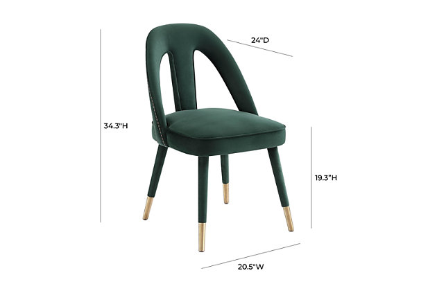 Petra Petra Forest Green Velvet Side Chair, Green, large