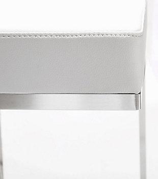 Ferrara Ferrara White Steel Barstool, White/Silver, large