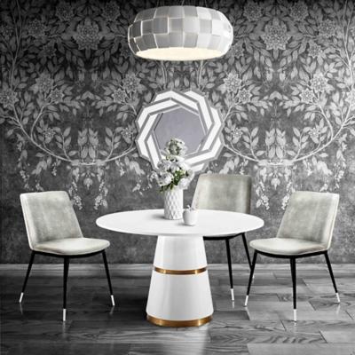 Evora Evora Gray Velvet Chair - Silver Legs - Set of 2, Gray/Black, large