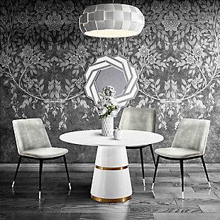 Evora Evora Gray Velvet Chair - Silver Legs - Set of 2, Gray/Black, rollover