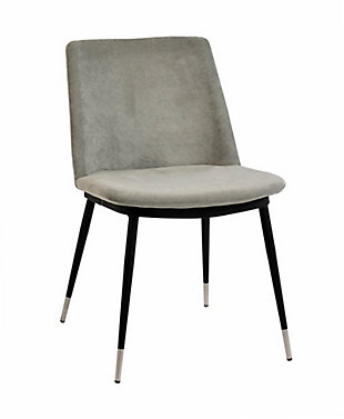 Evora Evora Gray Velvet Chair - Silver Legs - Set of 2, Gray/Black, large