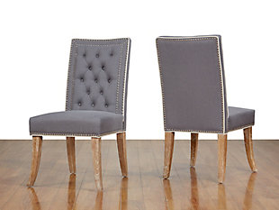 Garrett Garrett Gray Linen Dining Chair, Gray/Brown, rollover