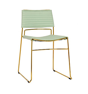 Domani Domani Mint Vegan Leather Chair - Set of 2, Green/Gold, large