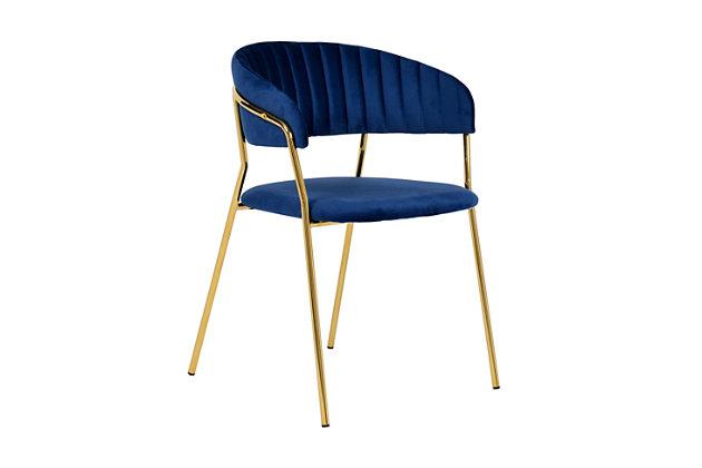 Padma Padma Navy Velvet Chair - Set of 2, Blue/Gold, large
