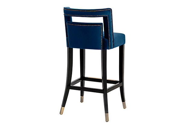 Hart Hart Navy Velvet Counter Stool, Blue/Black, large