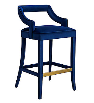 Tiffany Tiffany Navy Velvet Counter Stool, Blue, large