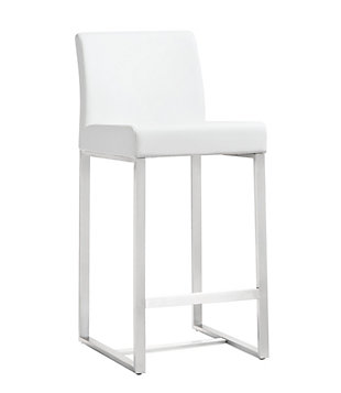 Denmark Denmark White Steel Counter Stool, White/Silver, large