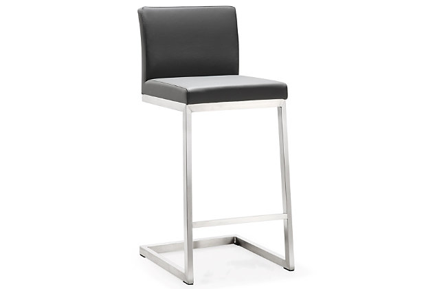 Parma Parma Gray Steel Counter Stool, Gray/Silver, large