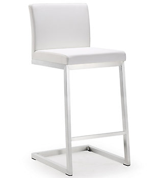 Parma Parma White Steel Counter Stool, White/Silver, large