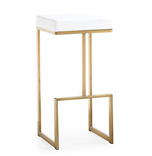 Ferrara Ferrara White Gold Steel Barstool, White/Gold, large
