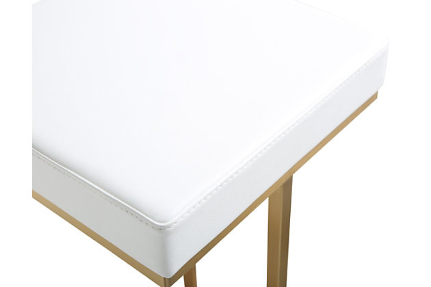 Ferrara Ferrara White Gold Steel Barstool, White/Gold, large