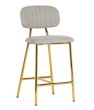 Ariana Ariana Gray Counter Stool (Set of 2), Gray/Gold, large