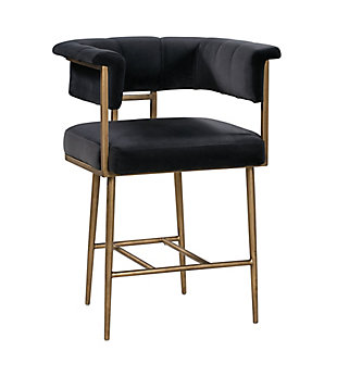 Astrid Astrid Gray Velvet Counter Stool, Black, large
