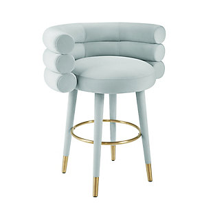 Betty Betty Mint Green Velvet Counter Stool, Mint Green, large