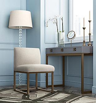 Haute Haute Beige Linen Chair in Brass, , rollover