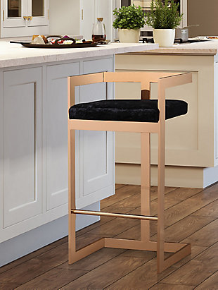 Marquee Marquee Black Velvet Counter Stool, , rollover