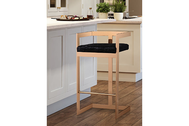 Marquee Marquee Black Velvet Counter Stool, , large