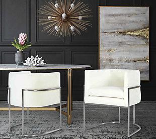 Giselle Giselle Cream Velvet Dining Chair - Silver Frame, Cream/Silver, large