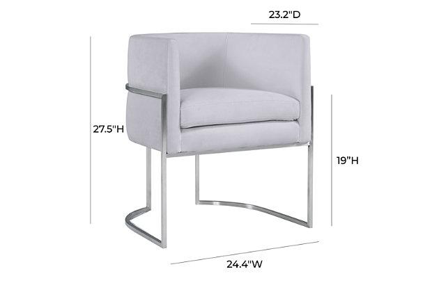 Giselle Giselle Gray Velvet Dining Chair - Silver Frame, Gray/Chrome, large