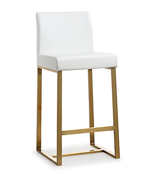 Denmark Denmark White Gold Steel Counter Stool, White/Gold, large