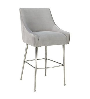 Beatrix Beatrix Pleated Light Gray Velvet Bar Stool, Gray/Silver, large